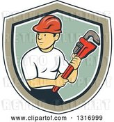 Vector Clip Art of Retro Cartoon White Male Plumber Holding a Giant Monkey Wrench in a Navy Blue, White, Tan and Green Shield by Patrimonio