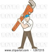 Vector Clip Art of Retro Cartoon White Male Plumber Holding a Monkey Wrench by Patrimonio