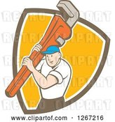 Vector Clip Art of Retro Cartoon White Male Plumber Holding a Monkey Wrench in a Brown White and Orange Shield by Patrimonio