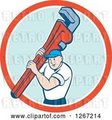 Vector Clip Art of Retro Cartoon White Male Plumber Holding a Monkey Wrench in a Red White and Blue Circle by Patrimonio