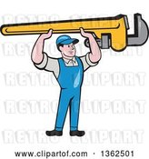Vector Clip Art of Retro Cartoon White Male Plumber Holding up a Giant Monkey Wrench by Patrimonio