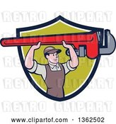 Vector Clip Art of Retro Cartoon White Male Plumber Holding up a Giant Monkey Wrench in a Navy Blue, White and Green Shield by Patrimonio