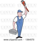 Vector Clip Art of Retro Cartoon White Male Plumber Holding up a Monkey Wrench and Tool Box by Patrimonio