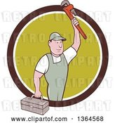 Vector Clip Art of Retro Cartoon White Male Plumber Holding up a Monkey Wrench and Tool Box in a Brown White and Green Circle by Patrimonio