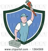 Vector Clip Art of Retro Cartoon White Male Plumber Holding up a Monkey Wrench and Tool Box in a Green White and Blue Shield by Patrimonio