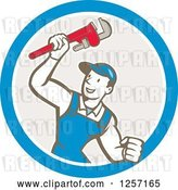 Vector Clip Art of Retro Cartoon White Male Plumber Holding up a Monkey Wrench in a Blue White and Taupe Circle by Patrimonio