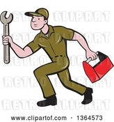 Vector Clip Art of Retro Cartoon White Male Plumber in a Green Uniform, Carrying a Monkey Wrench and Tool Box by Patrimonio