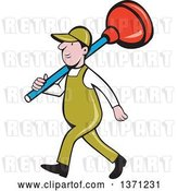 Vector Clip Art of Retro Cartoon White Male Plumber Walking with a Giant Plunger over His Shoulders by Patrimonio