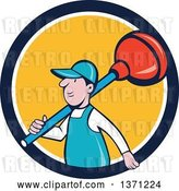Vector Clip Art of Retro Cartoon White Male Plumber with a Giant Plunger over His Shoulder, Emerging from a Blue White and Yellow Circle by Patrimonio