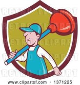 Vector Clip Art of Retro Cartoon White Male Plumber with a Giant Plunger over His Shoulder, Emerging from a Shield by Patrimonio