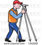 Vector Clip Art of Retro Cartoon White Male Surveyor Using a Theodolite by Patrimonio