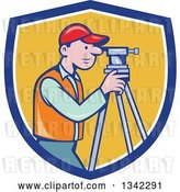 Vector Clip Art of Retro Cartoon White Male Surveyor Using a Theodolite in a Blue White and Yellow Shield by Patrimonio