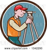 Vector Clip Art of Retro Cartoon White Male Surveyor Using a Theodolite in a Brown White and Blue Circle by Patrimonio