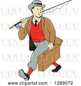 Vector Clip Art of Retro Cartoon White Male Tourist Walking and Carrying a Suitcase and Fly Fishing Rod by Patrimonio
