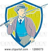 Vector Clip Art of Retro Cartoon White Male Tourist Walking with a Fly Fishing Rod over His Shoulder in a Blue White and Green Shield by Patrimonio