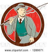 Vector Clip Art of Retro Cartoon White Male Tourist Walking with a Fly Fishing Rod over His Shoulder in a Maroon White and Red Circle by Patrimonio