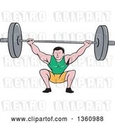 Vector Clip Art of Retro Cartoon White Strongman Bodybuilder Lifting a Barbell over His Head and Doing Squats by Patrimonio