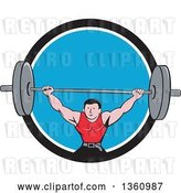 Vector Clip Art of Retro Cartoon White Strongman Bodybuilder Lifting a Barbell over His Head, and Doing Squats, Emerging from a Black White and Blue Circle by Patrimonio