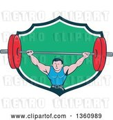 Vector Clip Art of Retro Cartoon White Strongman Bodybuilder Lifting a Barbell over His Head, and Doing Squats, Emerging from a Navy Blue, White and Green Shield by Patrimonio