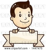 Vector Clip Art of Retro Cartoon White White Boy Smiling over a Blank Ribbon Banner by Cory Thoman