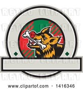Vector Clip Art of Retro Cartoon Wild Boar Pig with a Bone in Its Mouth, Inside a Tartan Circle by Patrimonio