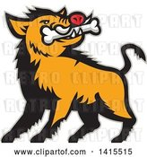 Vector Clip Art of Retro Cartoon Wild Boar Pig with a Bone in Its Mouth, with a Gray Outline by Patrimonio