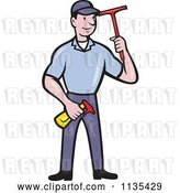 Vector Clip Art of Retro Cartoon Window Cleaner Worker with a Squeegee and Spray Bottle by Patrimonio