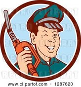 Vector Clip Art of Retro Cartoon Winking Gas Station Attendant Jockey Holding a Nozzle in a Brown White and Blue Circle by Patrimonio