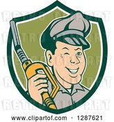 Vector Clip Art of Retro Cartoon Winking Gas Station Attendant Jockey Holding a Nozzle in a Green and White Shield by Patrimonio