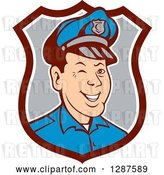 Vector Clip Art of Retro Cartoon Winking White Male Police Officer in a Brown White and Gray Shield by Patrimonio