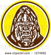 Vector Clip Art of Retro Cartoon Woodcut Angry Gorilla Head in a Yellow Brown and White Circle by Patrimonio