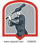 Vector Clip Art of Retro Cartoon Woodcut Baseball Player Batter in a Shield by Patrimonio