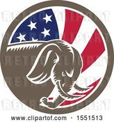 August 14th, 2018: Vector Clip Art of Retro Cartoon Woodcut Charging Elephant in an American Flag Circle by Patrimonio