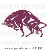Vector Clip Art of Retro Cartoon Woodcut Charging European Bison by Patrimonio