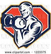 Vector Clip Art of Retro Cartoon Woodcut Male Bodybuilder Doing Bicep Curls with a Dumbbell over a Shield by Patrimonio