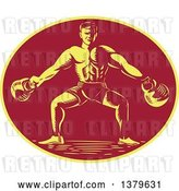 Vector Clip Art of Retro Cartoon Woodcut Male Bodybuilder Working out with Kettlebells in a Yellow and Red Oval by Patrimonio