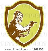 Vector Clip Art of Retro Cartoon Woodcut Pest Control Exterminator Spraying in a Brown and Green Shield by Patrimonio