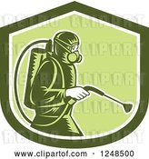 Vector Clip Art of Retro Cartoon Woodcut Pest Control Exterminator Spraying in a Green Shield by Patrimonio