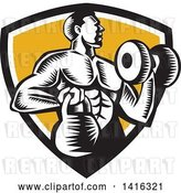 Vector Clip Art of Retro Cartoon Woodcut Strong Male Bodybuilder Working out with a Dummbell and Kettlebell, Emerging from a Black White and Yellow Shield by Patrimonio