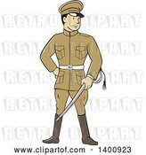 Vector Clip Art of Retro Cartoon World War One British Officer Soldier Holding a Sword by Patrimonio