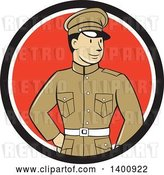 Vector Clip Art of Retro Cartoon World War One British Officer Soldier in a Black White and Red Circle by Patrimonio