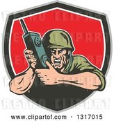 Vector Clip Art of Retro Cartoon World War Two Soldier Holding a Field Radio in a Taupe Green White and Red Shield by Patrimonio