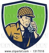 Vector Clip Art of Retro Cartoon World War Two Soldier Talking on a Field Radio in a Blue White and Green Shield by Patrimonio