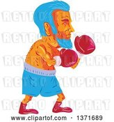 Vector Clip Art of Retro Cartoon Wpa Styled Blue Haired Old Male Boxer by Patrimonio