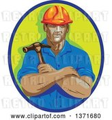 Vector Clip Art of Retro Cartoon Wpa Styled Construction Worker Holding a Hammer in Folded Arms, Within a Blue and Green Oval by Patrimonio