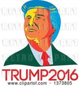 Vector Clip Art of Retro Cartoon WPA Styled Portrait of Republican Presidential Nominee Donald Trump over Text by Patrimonio
