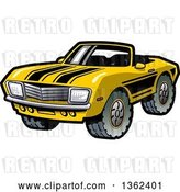 Vector Clip Art of Retro Cartoon Yellow Convertible Muscle Car with Black Racing Stripes and Mud Tires by Clip Art Mascots