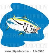 Vector Clip Art of Retro Cartoon Yellowfin Tuna Fish over Blue by Patrimonio