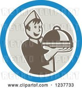 Vector Clip Art of Retro Cartoon Young Male Chef Holding out a Cloche Platter in a Blue and Beige Circle by Patrimonio