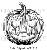 Vector Clip Art of Retro Carved Halloween Woodcut Jackolantern Pumpkin by AtStockIllustration